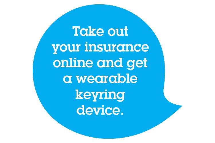 Take out your insurance online and get a wearable keyring device