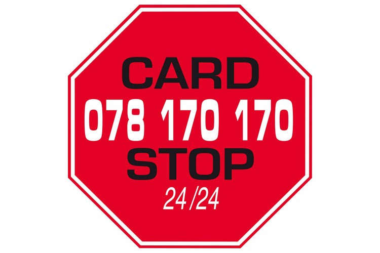 Call Card Stop immediately on 070 344 344