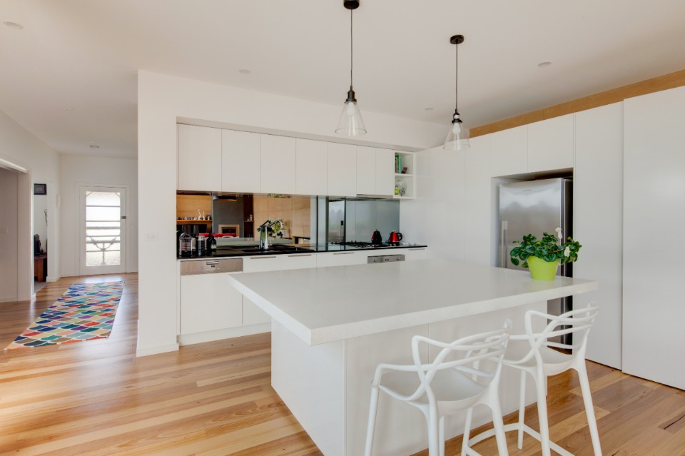 Kitchen and bench in modern home